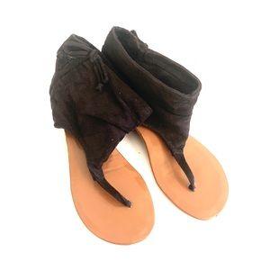 Shoes - Gladiator Black Fabric Sandals